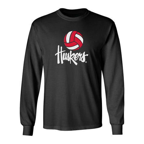 Nebraska Husker Long Sleeve Tee Shirt - Volleyball Legacy Script Huskers