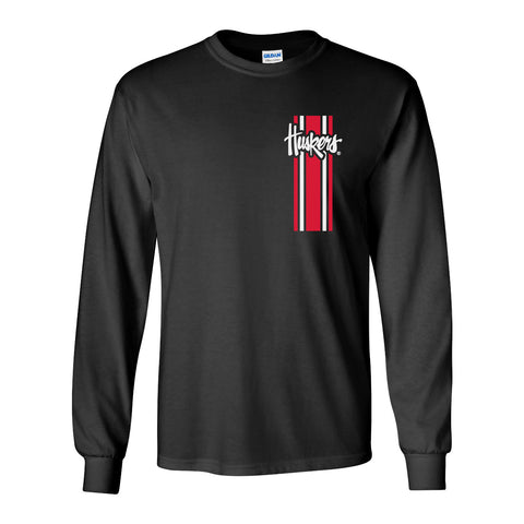 Nebraska Husker Tee Shirt Long Sleeve - Vertical Stripe Script Huskers