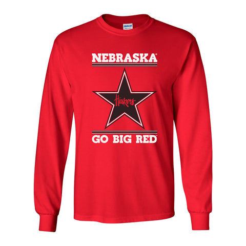 Nebraska Husker Tee Shirt Long Sleeve - Star Huskers GO BIG RED