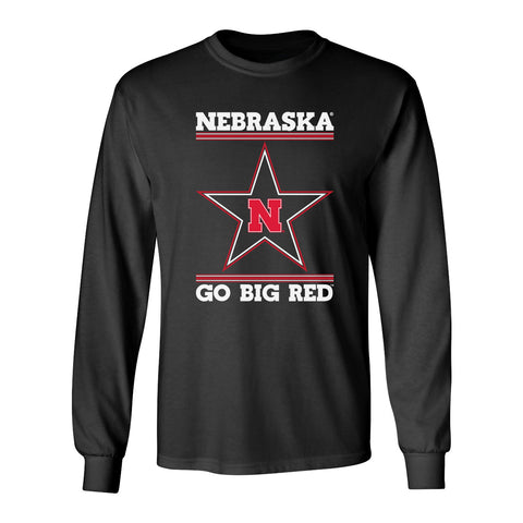 Nebraska Husker Tee Shirt Long Sleeve - Star N GO BIG RED