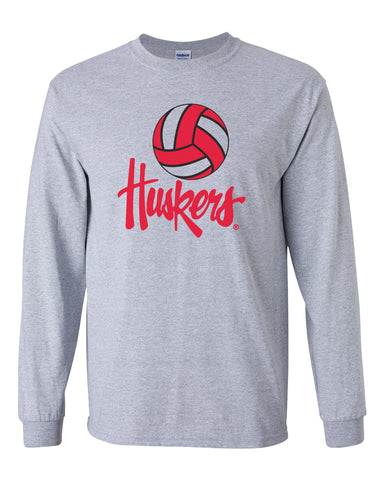 Nebraska Huskers Long Sleeve Tee Shirt - Nebraska Volleyball Legacy Script Huskers
