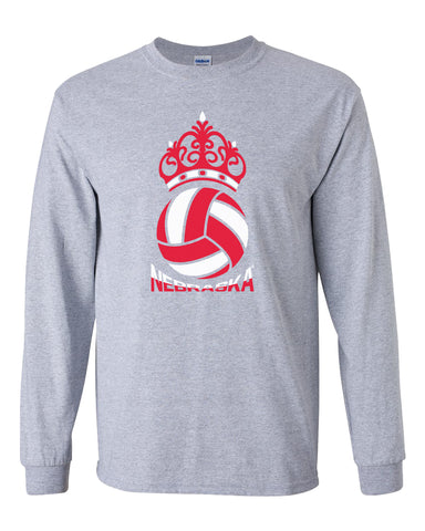 Nebraska Huskers Long Sleeve Tee Shirt - Nebraska Huskers Volleyball Crown