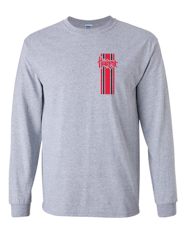 Nebraska Huskers Long Sleeve Tee Shirt - Vertical Stripe Script Huskers