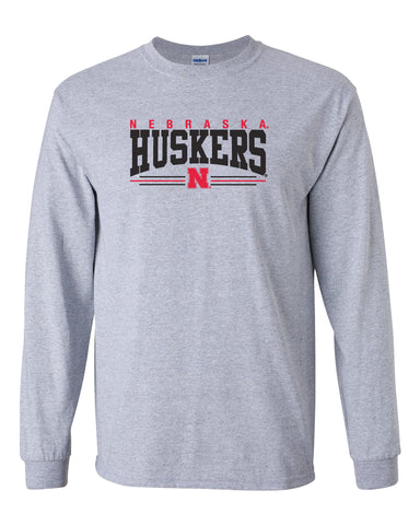 Nebraska Huskers Long Sleeve Tee Shirt - Nebraska Huskers Stripe N