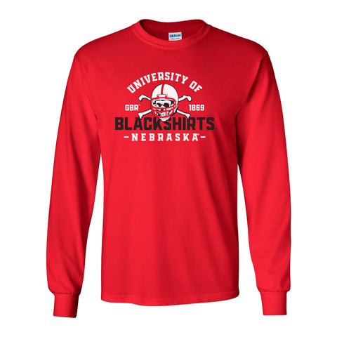 Nebraska Huskers Long Sleeve Tee Shirt - University of Nebraska Blackshirts GBR