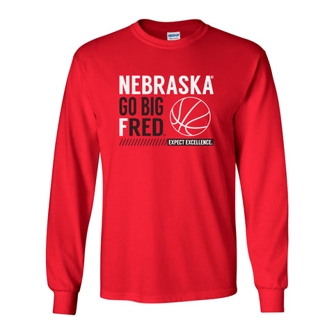Nebraska Huskers Long Sleeve Tee Shirt - Nebraska Basketball - GO BIG FRED