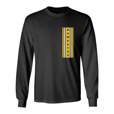 Iowa Hawkeyes Long Sleeve Tee Shirt - Vertical Stripe with HAWKEYES