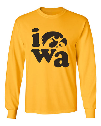 Iowa Hawkeyes Long Sleeve Tee Shirt - Iowa Stacked