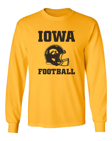Iowa Hawkeyes Long Sleeve Tee Shirt - Iowa Football Helmet on Gold