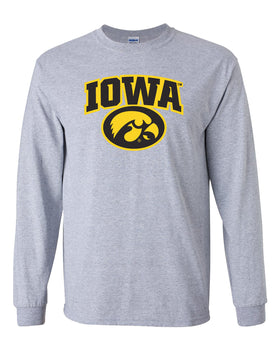 Iowa Hawkeyes Long Sleeve Tee Shirt - IOWA Oval Tigerhawk on Gray