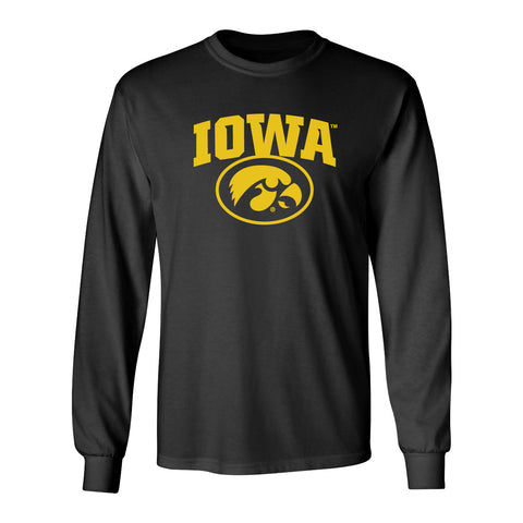 Iowa Hawkeyes Long Sleeve Tee Shirt - IOWA Oval Tigerhawk on Black