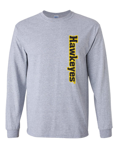 Iowa Hawkeyes Long Sleeve Tee Shirt - Vertical Offset Hawkeyes on Gray