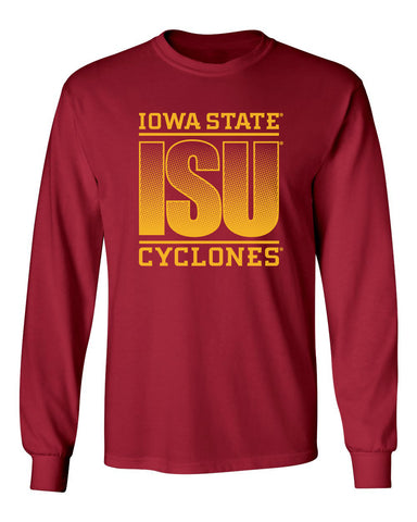 Iowa State Cyclones Long Sleeve Tee Shirt - ISU Fade Gold on Cardinal