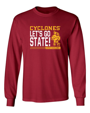 Iowa State Cyclones Long Sleeve Tee Shirt - Let's Go State - Expect Excellence