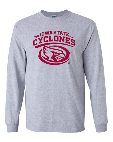 Iowa State Cyclones Long Sleeve Tee Shirt - Cy The ISU Cyclones Mascot Swirl
