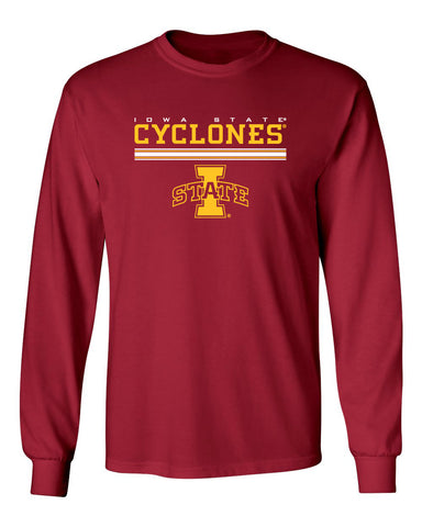 Iowa State Cyclones Long Sleeve Tee Shirt - I-State Logo with Horizontal Stripe