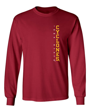 Iowa State Cyclones Long Sleeve Tee Shirt - Vertical Iowa State Cyclones