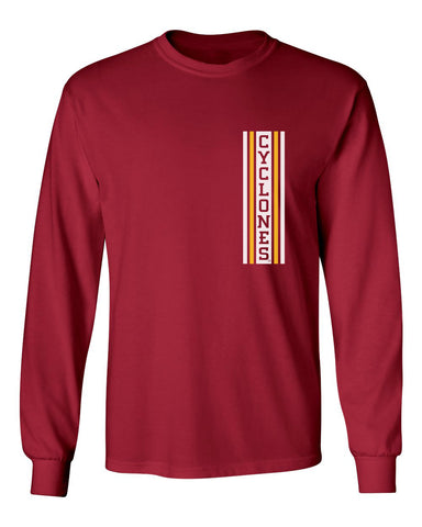 Iowa State Cyclones Long Sleeve Tee Shirt - Vertical Stripe CYCLONES