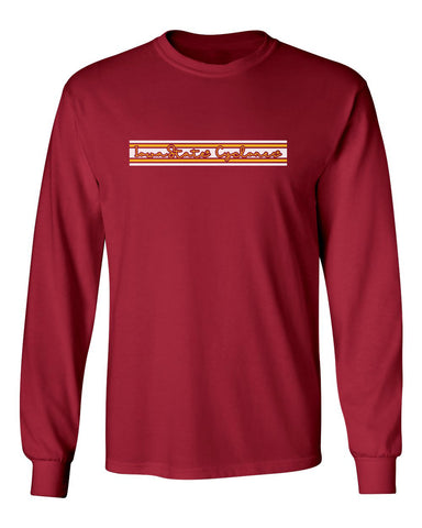 Iowa State Cyclones Long Sleeve Tee Shirt - Horizontal Stripe Script Iowa State Cyclones