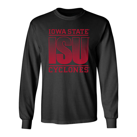 Iowa State Cyclones Long Sleeve Tee Shirt - ISU Fade Red on Black