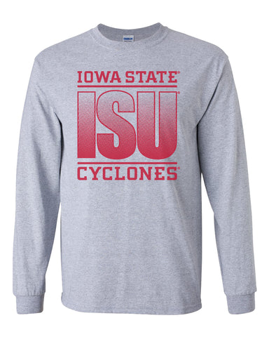 Iowa State Cyclones Long Sleeve Tee Shirt - ISU Fade Red on Gray