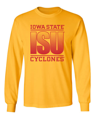 Iowa State Cyclones Long Sleeve Tee Shirt - ISU Fade Red on Gold