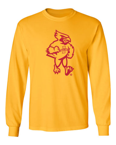 Iowa State Cyclones Long Sleeve Tee Shirt - Mascot Cy Full Body