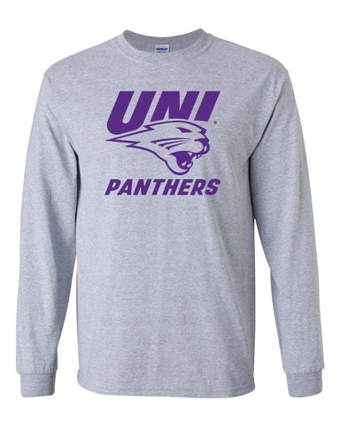 Northern Iowa Panthers Long Sleeve Tee Shirt - Purple UNI Panthers Logo on Gray