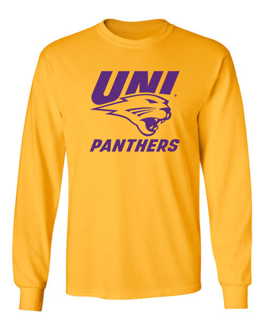Northern Iowa Panthers Long Sleeve Tee Shirt - Purple UNI Panthers Logo on Gold