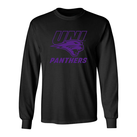 Northern Iowa Panthers Long Sleeve Tee Shirt - Purple UNI Panthers Logo on Black