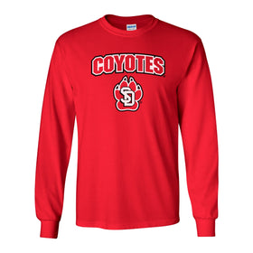 South Dakota Coyotes Long Sleeve Tee Shirt - Coyotes with USD Paw Logo