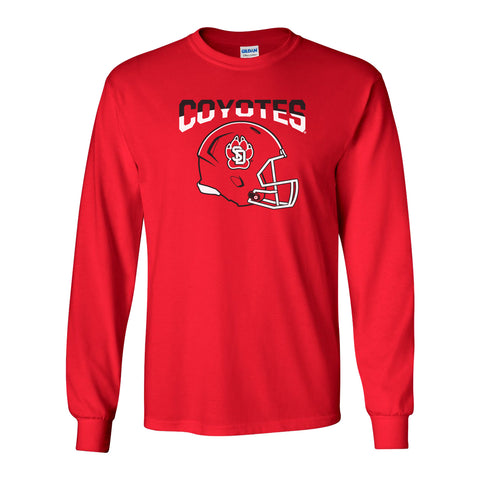 South Dakota Coyotes Long Sleeve Tee Shirt - USD Football Helmet