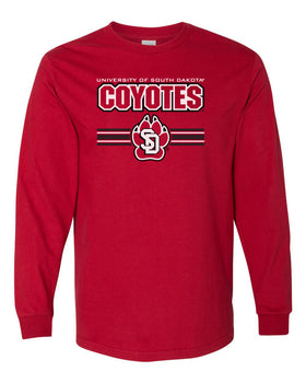 South Dakota Coyotes Long Sleeve Tee Shirt - USD Coyotes Stripe Paw Print