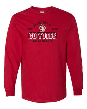 South Dakota Coyotes Long Sleeve Tee Shirt - USD 1862 GO YOTES
