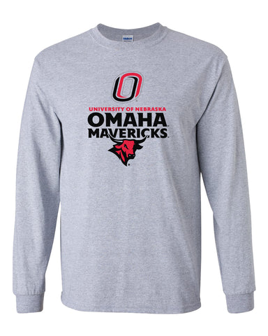 Omaha Mavericks Long Sleeve Tee Shirt - Omaha Mavericks with Bull and Primary Logo on Gray