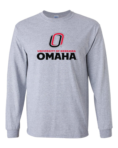 Omaha Mavericks Long Sleeve Tee Shirt - University of Nebraska Omaha with Primary Logo on Gray
