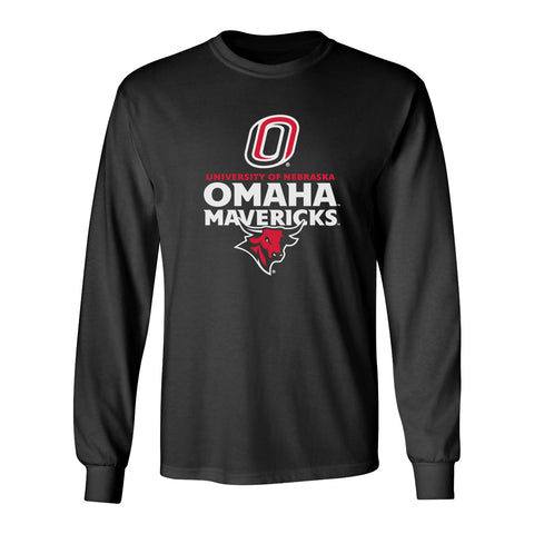 Omaha Mavericks Long Sleeve Tee Shirt - Omaha Mavericks with Bull and Primary Logo on Black