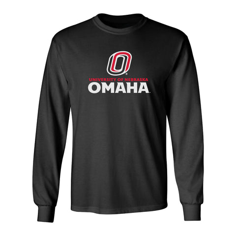 Omaha Mavericks Long Sleeve Tee Shirt - University of Nebraska Omaha with Primary Logo on Black