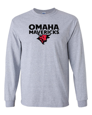 Omaha Mavericks Long Sleeve Tee Shirt - Omaha Mavericks with Bull on Gray