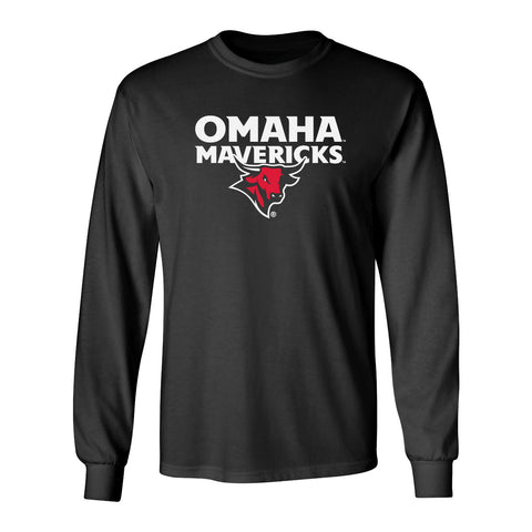 Omaha Mavericks Long Sleeve Tee Shirt - Omaha Mavericks with Bull on Black