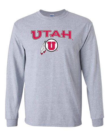 Utah Utes Long Sleeve Tee Shirt - Circle & Feather Logo