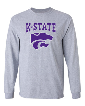 K-State Wildcats Long Sleeve Tee Shirt - K-State Powercat with Outline