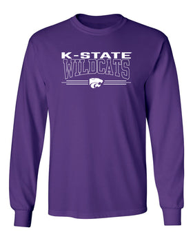 K-State Wildcats Long Sleeve Tee Shirt - Wildcats with 3-Stripe Powercat