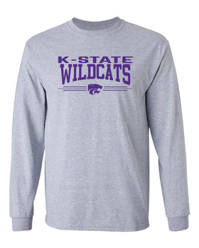 K-State Wildcats Long Sleeve Tee Shirt - K-State Wildcats 3 Stripe Powercat