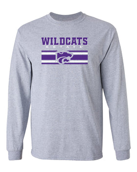 K-State Wildcats Long Sleeve Tee Shirt - Wildcats Stripe Powercat