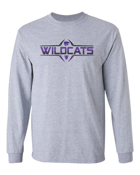 K-State Wildcats Long Sleeve Tee Shirt - Striped WILDCATS Football Laces