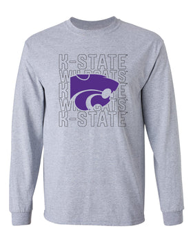 K-State Wildcats Long Sleeve Tee Shirt - Powercat Overlay