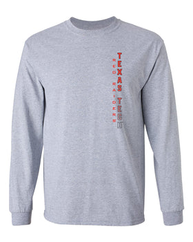 Texas Tech Red Raiders Long Sleeve Tee Shirt - Vertical Texas Tech Fade