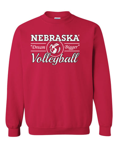 "Nebraska Huskers Volleyball ""Dream Bigger"" Crewneck Sweatshirt"