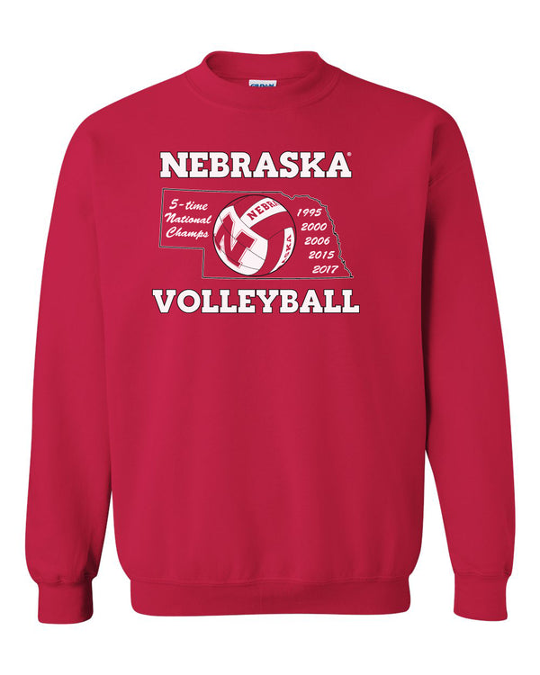 Nebraska Volleyball 5-Time National Champions Crewneck Sweatshirt